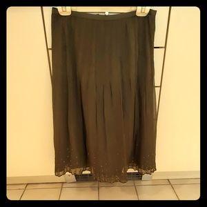 Olive green silk skirt